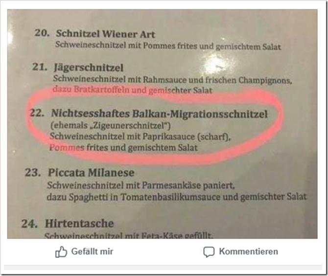 Auszug Speisekarte des Restaurant Gerstenkorn